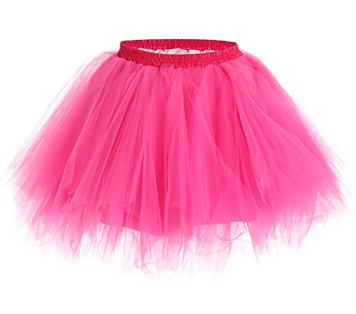 [JustinCostume Women's 80's Skirt Neon Rainbow Tulle Petticoat, Hot Pink, XS/L] (Neon Party Outfits)
