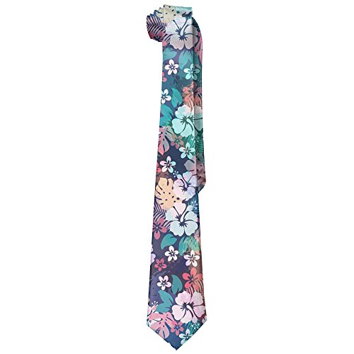 Charming Hawaii Flower Men's Tie Long Necktie Skinny Neckwear Silk (Tie Hawaii)