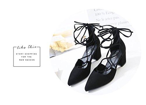 Pompes Simple Talons Xianshu Noir Talons Chaussures Profonde Hauts peu Pointues Bretelles Femmes Bouche Croix 6qYwq74