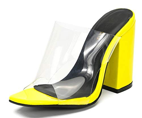 Womens Clear Wedge Mules Open Toe Chunky High Heel Sandals with Snakeskin Pattern Yellow pu US9 EU41