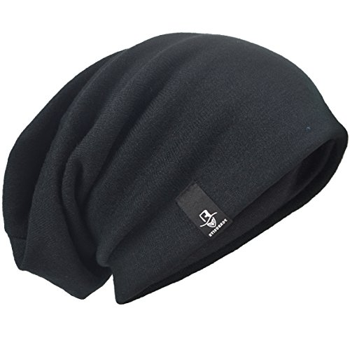 Beanie Mens Casual Hats - HISSHE Men's Slouch Slouchy Beanie Oversize Summer Winter Skull Cap N010 (Black)