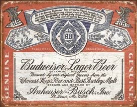 Budweiser - Weathered Tin Sign 16 x 13in (Label Sign Tin Budweiser)
