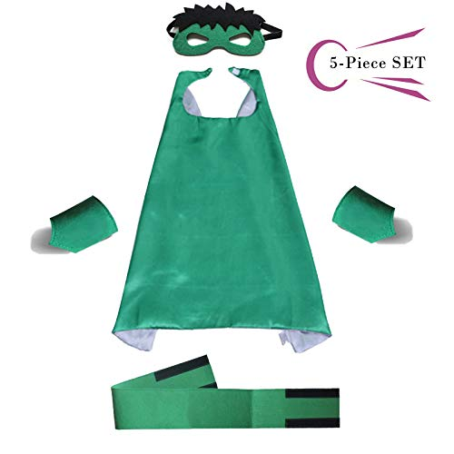 (Superhero Dress Capes Set for Kids - Child DIY Superhero Themed Birthday Halloween Party Dress up 5-Pack)