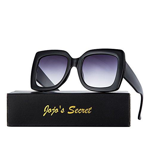 Oversized Square Sunglasses for Women, JOJO'S SECRET Designer Inspired Sunglasses Multi Tinted with Glitter Frame JS052 (Black/Light Grey, 2.1) (Frame Sunglasses Inspired Black)