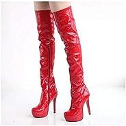 Women Nightclub Dance Stiletto Platform Over The Knee Long Boots Black Thin High Heels Patent Leather Thigh Hi