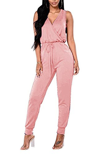 MAGICMK TYFeng Women's Sleeveless Romper V Neck Long Casual Jumpsuits Playsuits Outfits with Belt (Pink, XL) ()
