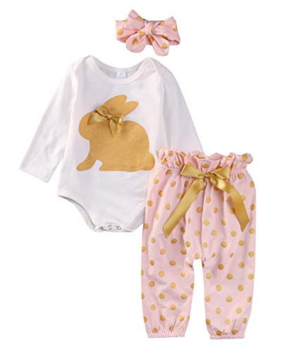 (New Cute Newborn Infant Baby Girls Clothes Gold Rabbit Long Sleeve Romper Tops Playsuit Sunsuit Pants Outfit Set 2pcs 0-18M 3M)