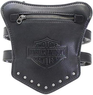 Harley-Davidson Womens Garter B&SStuds Black Leather Thigh Wallet