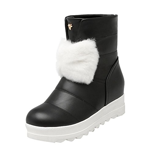 Carolbar Womens Bows Faux Fur Cute Platform Hidden Heel Snow Boots Black RS8oOgjx6p