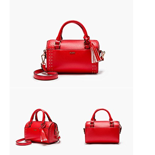 GuoFeng Nuevos Bolsos de Verano, Bolsos de Moda Remache, Bolso de Hombro. (Color : Red) Red