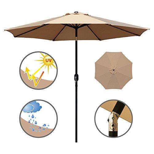 ABBLE Outdoor Patio Umbrella 9 Ft with Tilt and Crank, Weather Resistant, UV Protective Umbrella, Durable, 8 Sturdy Steel Ribs, Market Outdoor Table Umbrella, Tan -