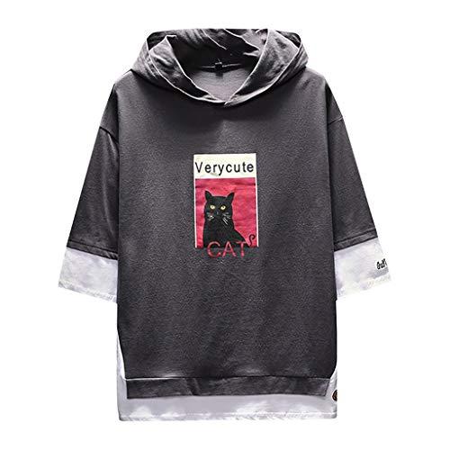 Men's Summer Fashion Printing Hoodie Loose T-Shirts Fake Two Half Sleeves Tops Dark Gray ()