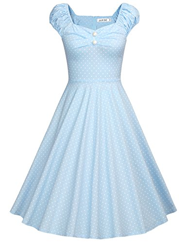 JUESE Women's 1950's Sweetheart Cocktail Party Casual Wiggle Swing Dress(S,LightBlue Swhite Dot)