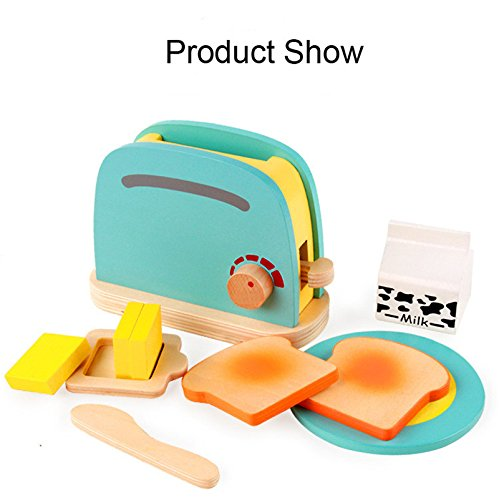 New 2017 Baby Breakfast Pretend Role Play Wooden Kitchen Toaster Toys Child Development Toy with Milk /Bread/ Butter Gifts