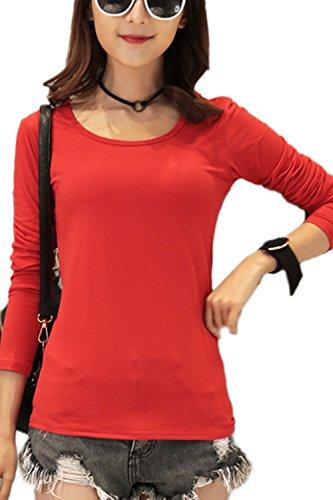 Manga larga camiseta ocasional Yacun mujer Red