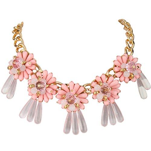BriLove Women's Crystal Beads Sunflower Resin Bib Statemant Necklace Gold-Tone Pink 18.5