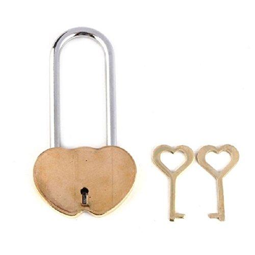 Fullkang Solid Brass Double Heart Love Lock Everlasting Love for lovers Gift (Gold)