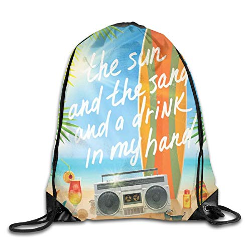 Drawstring Backpack Sports Gym Bag Bulk Bags Cinch Sacks Pull String Bags,Retro Design Tropical Beach With Surfboard Palm Leaves Flip Flops And Sunglasses,for Women Men Children Large Size
