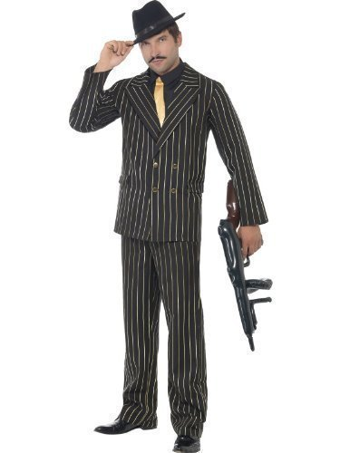 Adult Mens Black & Gold Pinstripe 1920s Gangster Bugsy Ma...