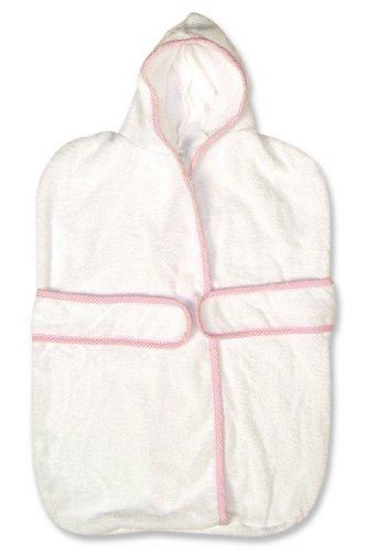 Pink Gingham Seersucker Trim (Trend Lab Kimono Terry Velour Bath Bag in Pink Seersucker Trimmed)