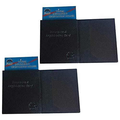 Set of 2 Black Tri-Fold CAR INSURANCE REGISTRATION HOLDER 5.25