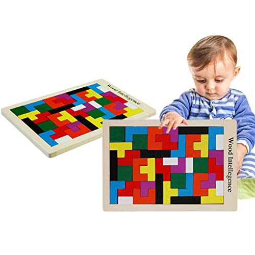 TANGON Wooden Tetris Puzzle Brain Teasers Game and Intelligence Toy Children's Educational Toy for Baby boy and Girl (A)