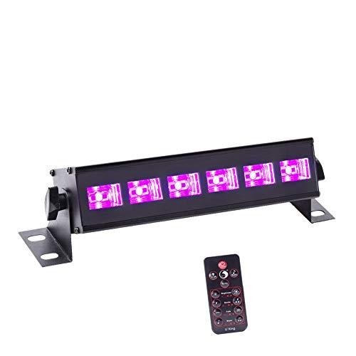 U`King UV 6 LED x 3W Black Lights Bar by RF Remote Control for Neon Glow Party Stage Lighting,Black