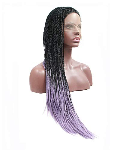 """Afro America Box Braided Wigs Black Ombre Pastel Purple Lace Front Wig 2 Tone Handmade Braids Long Hair Women Cosplay Party Holidays Travel 26"""""""