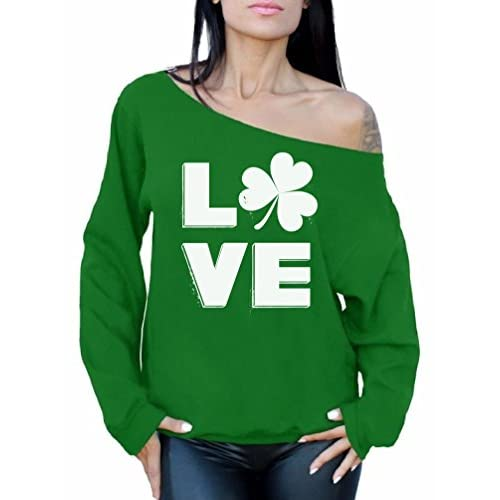 Awkward Styles Love Shamrock Off Shoulder Sweatshirt ST. Patrick's Day Outfit for cheap