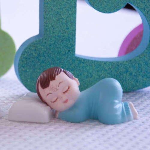Dorigan home series 2 Blue Pajama Smiling Baby Boy Sleeping Pillow Baby Shower Bakery Cake Topper