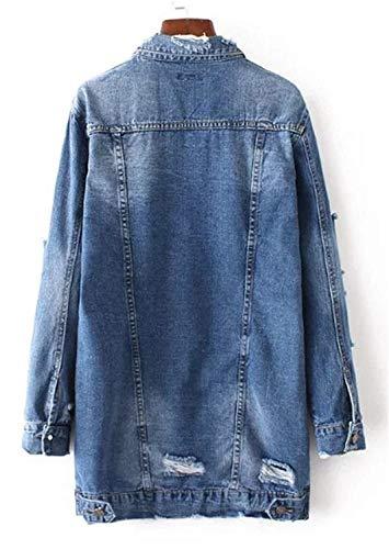 Denim Blu Cappotto Eleganti Da Giacca Manica Vintage Strappato Primaverile Classiche Lunga Autunno Casual Bavero Donne Outerwear Giacche Cavo Donna Baggy Jeans q0wRgI8