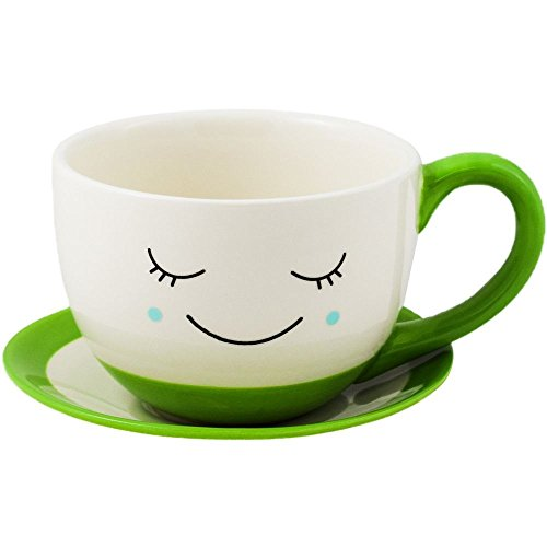 Teacup Pot - Ivyline Sow the Seed of Happiness Indoor Minnie Teacup & Saucer Planter Flower Plant Pot Green