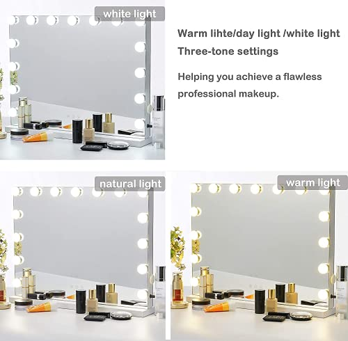 Kottova Vanity Mirror Makeup Mirror with Ligths- Hollywood Lighted Mirror with15 pcs LED ,3 Color Lighting Modes Tabletop or Wallmount Vanity Slim Mirror with USB Charging Port,White