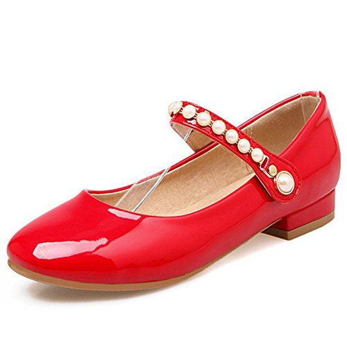 Aisun Womens Low Cut Cute Beaded Round Toe Dress Hook And Loop Mary-Jane Pumps Shoes With Ankle Strap Red zkVgVhaa