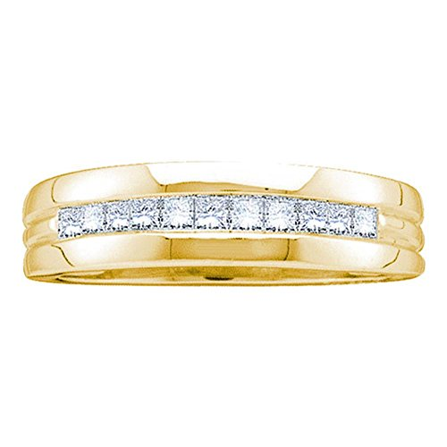 14kt Yellow Gold Mens Princess Diamond Wedding Anniversary Band Ring 1.00 Cttw by IdealCutGems