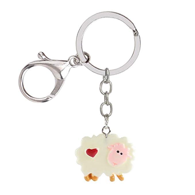 Amazon.com: Qinlee Cute Lamb Keychain Pendant Key Organizer ...