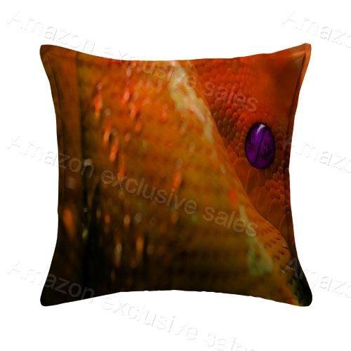 (POPULARE Orange Boa Design Throw Pillow Cover Case Decorative Square for Home Sofa 20x20 Inches Two)