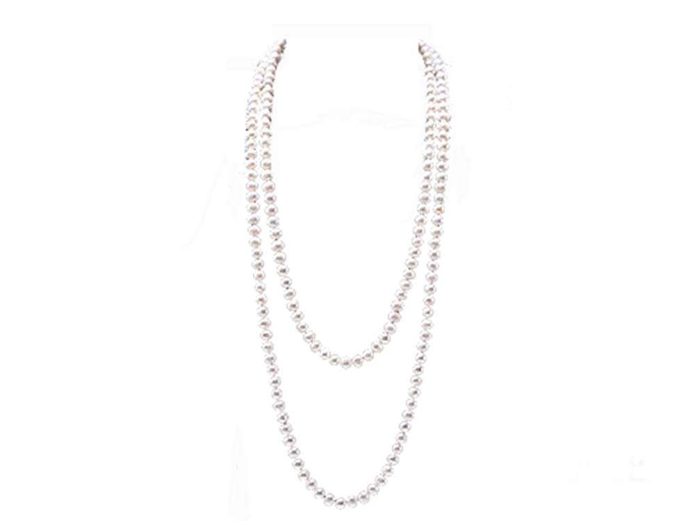 JYX Long Pearl Necklace 8-9mm AAA Classic White Round Freshwater Pearl Sweater Necklace 64''