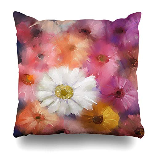 Ahawoso Throw Pillow Cover Daisy Green Impressionism White Red Gerbera Flowers Abstract Pink Bloom Design Decorative Pillowcase Square Size 20