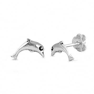 1b814c82b Image Unavailable. Image not available for. Color: Tiny Dolphin Stud  Earrings 925 Sterling Silver. Blue Apple Co.