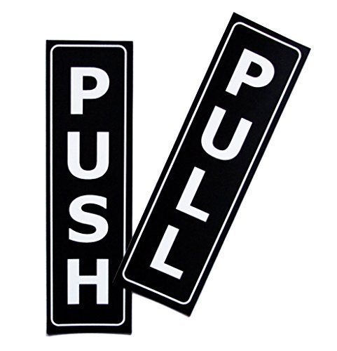 Push Pull Door Vertical Sign Set by LK Factory - 1.5'' x 5'' Self Adhesive Black & White Vinyl Stickers for Indoor & Outdoor Use - High Quality UV Stable Business Decals