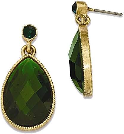 Gold-tone Green Epoxy Mirror-back Post Dangle Earrings