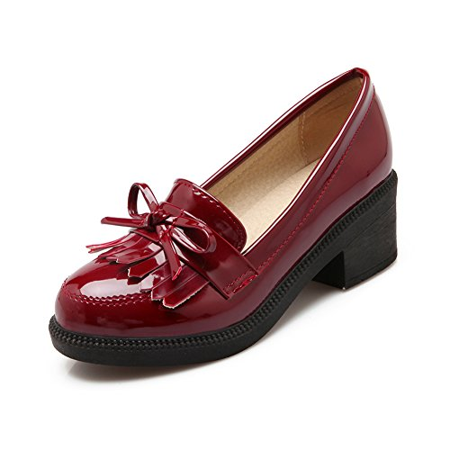 Lucksender Cuir Verni Bout Rond Talon Chaton Chaussures À Glands Vin Rouge