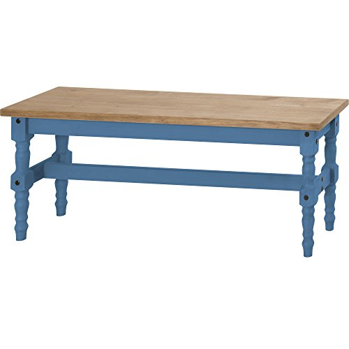Manhattan Comfort Jay Collection Traditional Wooden Dining Table Bench With Trim Finish, - Collection Blue Finish