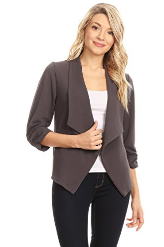 HEO CLOTHING Women's Plus/Reg Solid, Printed Open Blazer Cardigan Jacket Made in USA (Made Women Clothing Usa In)
