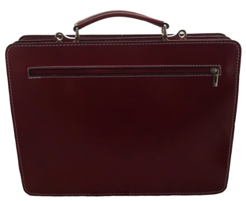 CTM Made Bag Red 100 Italy Briefcase Leather Suit Man in 38x29x11cm Shoulder Genuine r4zgSqr