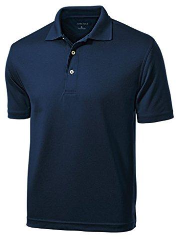 Joe's USA(tm Mens Dri-Mesh Moisture Wicking Golf Shirt-Navy-L