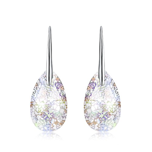 (Osiana Teardrop Drop Hook Dangle Earrings Made With Swarovski Crystals White Patina)
