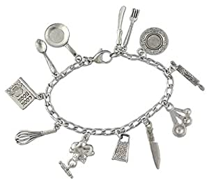 Chef Charm Bracelet- Pewter Cooking and Baking Themed Charms on Stainless Steel Chain - Size XS (6.5 Inches (Extra Small))