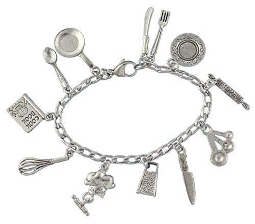 ef Charm Bracelet- Pewter Cooking and Baking Themed Charms on Stainless Steel Chain - Size M (7.5 Inches (Medium)) ()